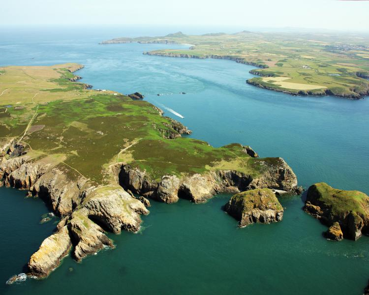 Ramsey Island, an RSPB nature reserve, looking north-east to the Pembrokeshire mainland.